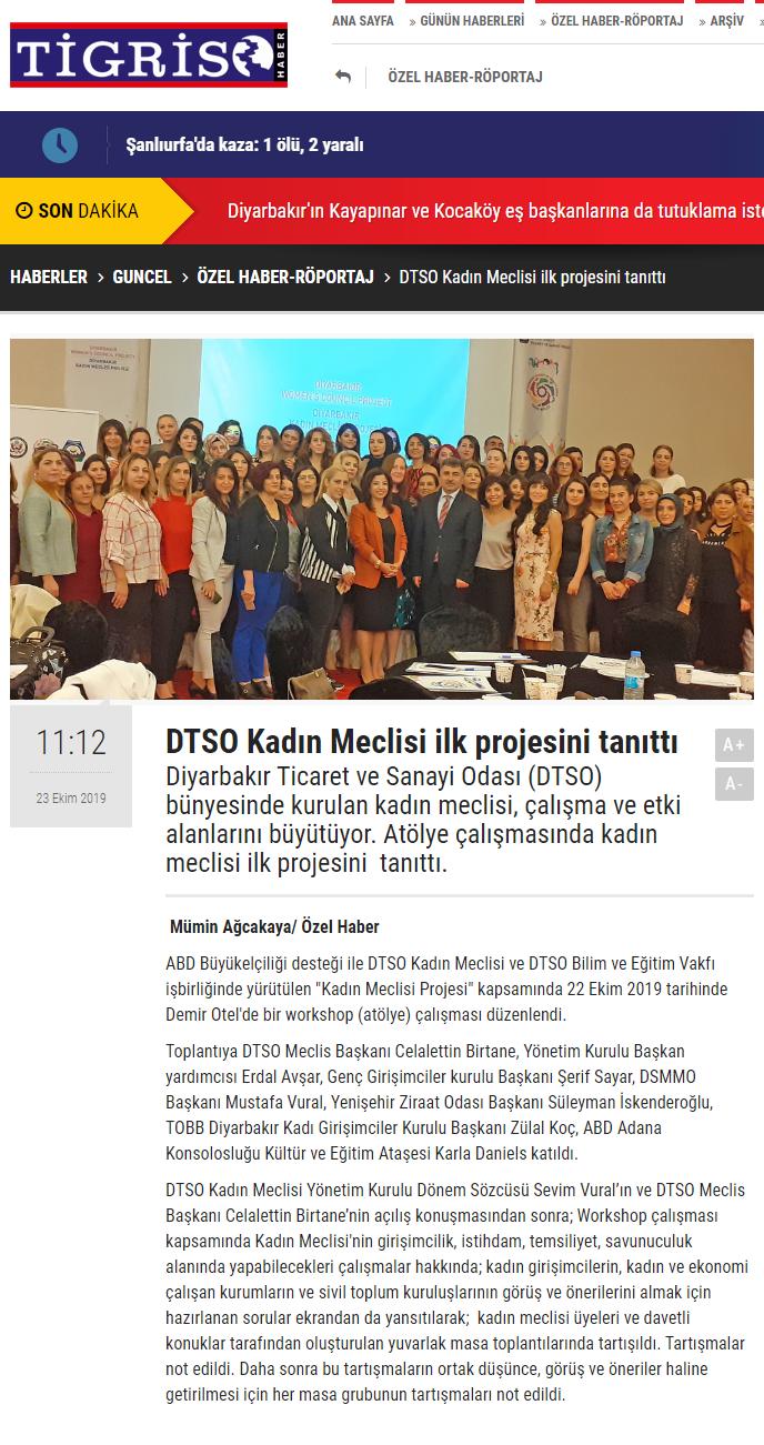 DTSO KADIN MECLİSİ İLK PROJESİNİ TANITTI (tigrishaber.com)