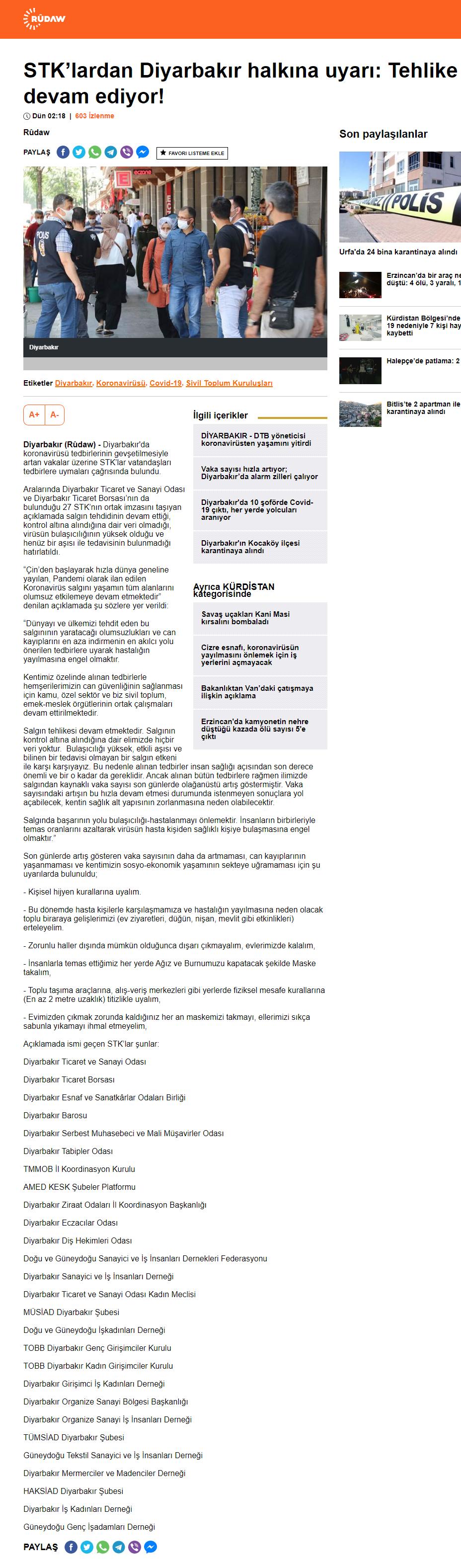 """2020 06 15 STKLARDAN DİYARBAKIR HALKINA UYARI """"TEHLİKE DEVAM EDİYOR"""" (rudaw.net)"""