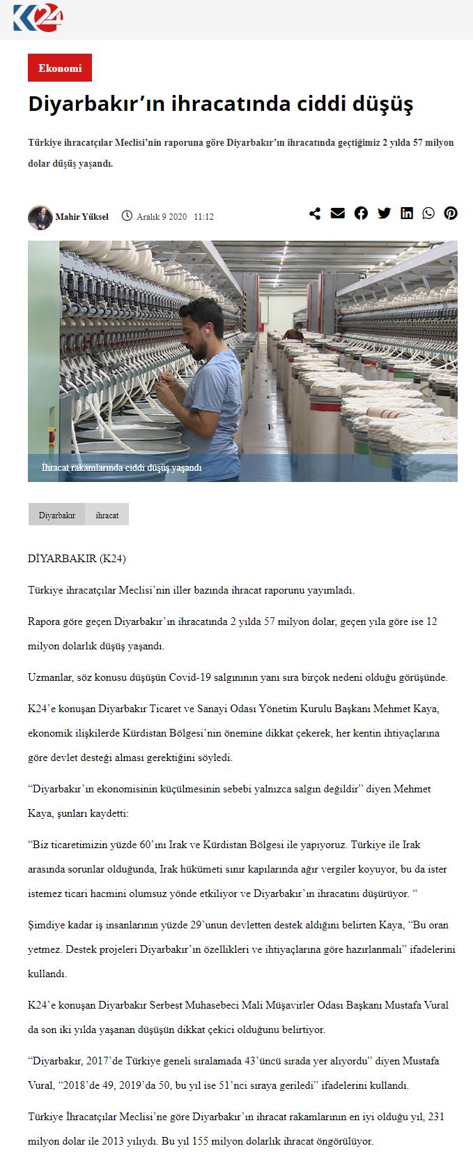 2020 12 09 Diyarbakır'ın İhracatında Ciddi Düşüş (kurdistan24.com)