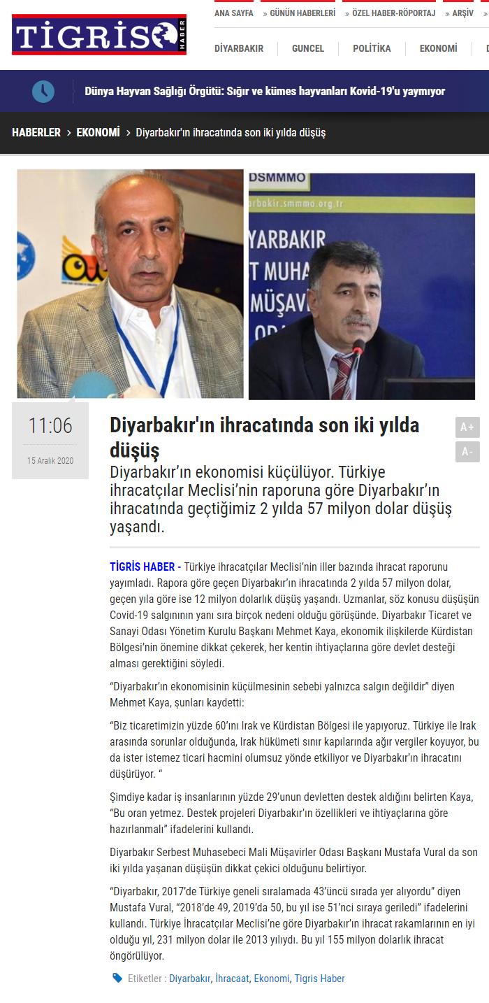 2020 12 15 Diyarbakır'ın ihracatında son iki yılda düşüş Kaynak Diyarbakır'ın ihracatında son iki yılda düşüş (tigrishaber.com)