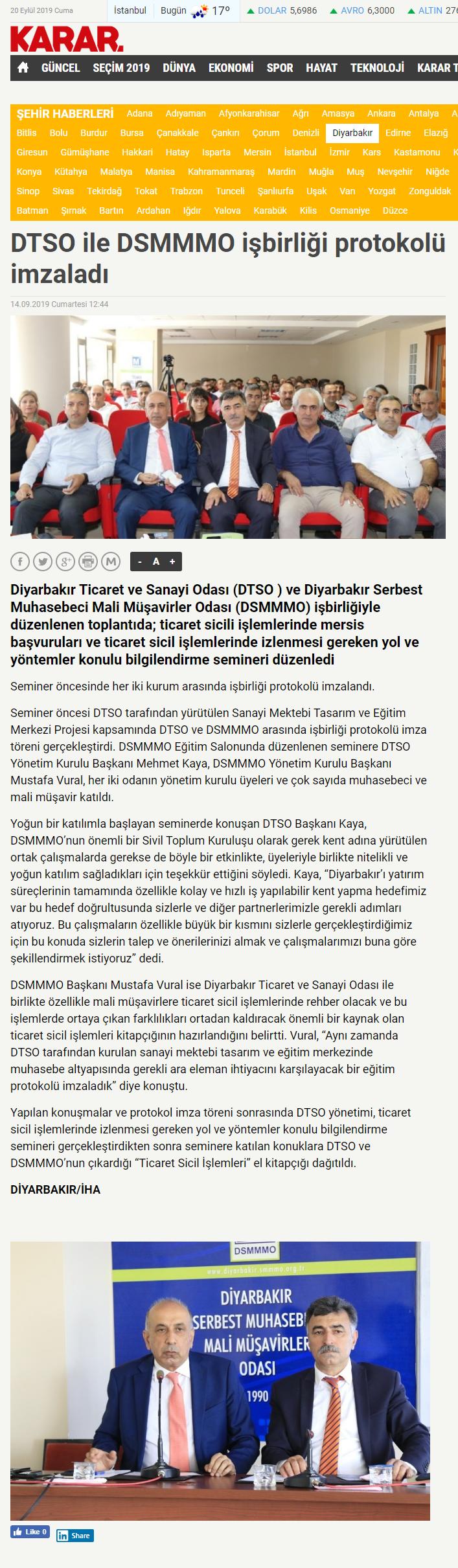 DTSO İLE DSMMMO İŞBİRLİĞİ PROTOKOLÜ İMZALADI (karar.com)