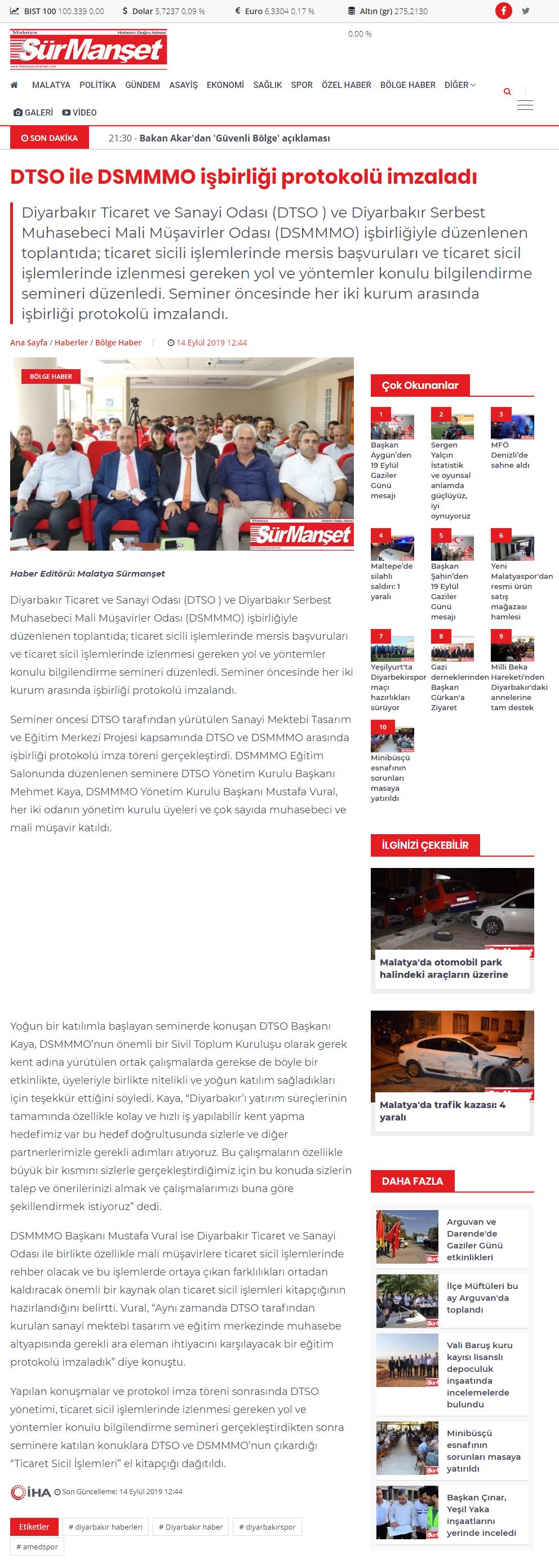 DTSO İLE DSMMMO İŞBİRLİĞİ PROTOKOLÜ İMZALADI (surmanşet.com)