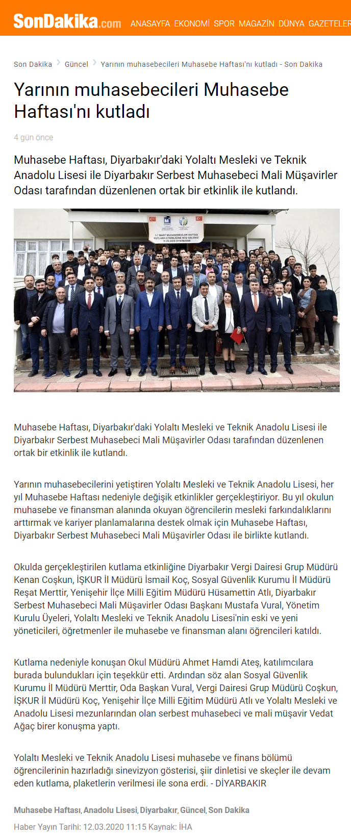 YARININ MUHASEBECİLERİ MUHASEBE HAFTASINI KUTLADI (sondakika.com)