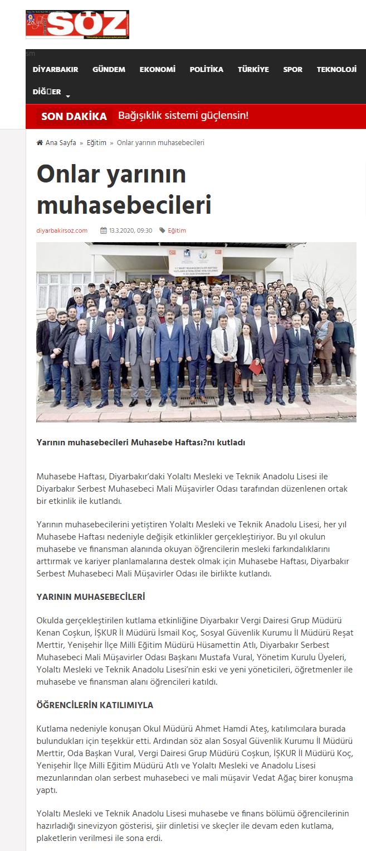 YARININ MUHASEBECİLERİ MUHASEBE HAFTASINI KUTLADI (söz.com)