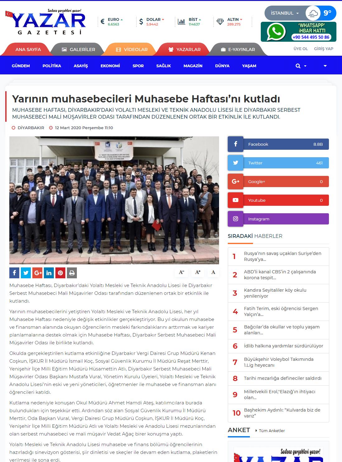 YARININ MUHASEBECİLERİ MUHASEBE HAFTASINI KUTLADI (yazargazetesi.com)